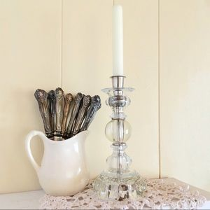 Vintage Glass Block Candlestick Solid Glass Silver
